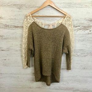 A'Reve Brown Dolman Sleeve Hi-Lo Sweater Size L